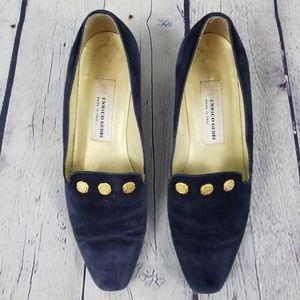 ENRICO GERBI   blue suede vintage gold trim shoes